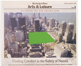 """Featured image, Ellsworth Kelly's """"Ground Zero"""" (2003), is reproduced from MoMA PS1's <I>September 11</I>. The original image is a collage on paper (newsprint). Sheet (irregular): 11 9/16 x 13 1/2 inches (29.4 x 34.3 cm). Whitney Museum of American Art, New York. Gift of an anonymous donor. (c) Ellsworth Kelly; courtesy Whitney Museum of American Art, New York; photo: David Allison."""