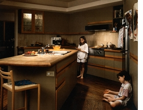 """Featured image, Jeff Wall's <i>Jell-O</i>, 1995, is reproduced from <a href=""""9783775727839.html"""">Street Life and Home Stories</a>, in which Ulrich Bischoff writes, """"<i>Jell-O</i>, 1995, is a cinematographic production: the setting is, as always, the result of extremely exacting and precise preparations. Like the stage set in a theater, it is essential for an understanding of the piece that is performed. Allegorical and everyday elements blend into a clear image: a nocturnal scene in a kitchen with modern furnishing and fittings present us--in the manner of a film still--with two young girls abandoning themselves to the fascination of lemon jelly."""""""