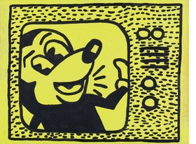 """Featured image, """"Haring Tag July 15, 1981"""" (1985), is reproduced from <I>Sturtevant: Double Trouble</I>."""