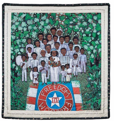 Taking inspiration in the quilts, paintings and political posters of Faith Ringgold