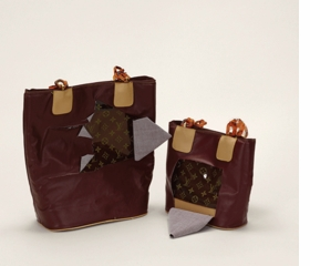 """""""Handbag, Louis Vuitton (disguised) (counterfeit) [Detail]"""" (2010), from <I>Handbags, Louis Vuitton (Counterfeit)</I> (2010), is reproduced from <I>Taryn Simon: Contraband</I>."""
