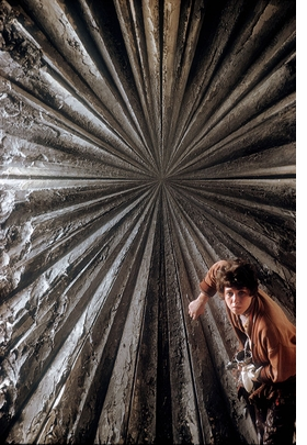 """Featured image, of San Francisco painter Jay DeFeo at work on """"Deathrose,"""" is reproduced from 'The Beat Scene.'"""