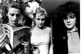 """Featured image -- of the Slits at the Tropicana Motel in 1980 -- is from <a href=""""9781935202271.html"""">The Beautiful & the Damned</a>, Ann Summa's book of photographs of the 1970s L.A. punk scene, reviewed in the September 9, 2010 <a href="""" http://www.latimes.com/entertainment/news/la-et-punk-photoshow-20100909,0,7532199.story"""">Los Angeles Times</a>, from which this quote is drawn: """"'I saw people shooting up in the bathroom at the Whiskey and the Roxy. And then people started dying,' says Summa. 'I feel like that's still a part of music, but when you have a camera between you and a subject there's this distance.' And that distance is what gives the photos in <I>The Beautiful and the Damned</I> their eerie, resonant power. Looking at them is like peering through a looking glass into another time when music was made, however briefly, not for money or fame, but because of a deep need to be a part of something unique and autonomous. The beauty was in the belonging."""""""