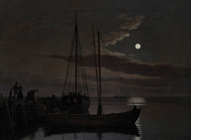 "C.W. Eckersberg's ""Moonlight Painting"" (1821) is reproduced from 'The Moon: From Inner Worlds to Outer Space.'"