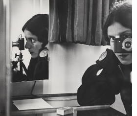 "Ilse Bing, ""Selbstporträt mit Leica (Self-Portrait with Leica),"" 1931, gelatin silver print, 26.7 × 30.5 cm (10 1/2 × 12 in.), Michael Mattis and Judith Hochberg. From 'The New Woman Behind the Camera.'"
