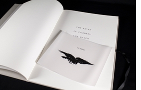 Above: A spread from 'The Raven / Le Corbeau / The Raven' with ex-libris book plate.