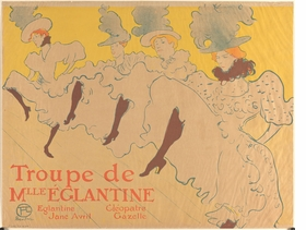 """Mademoiselle Églantine's Troupe"" (1896) is reproduced from 'Toulouse-Lautrec and the Stars of Paris.'"