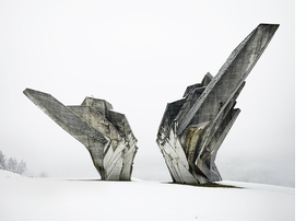 Monument to the Battle of the Sutjeska, Tjentiste, Bosnia and Herzegovina, 1965-71, by architect Dorde Zlokovic and sculptor Miodrag Zivkovic is reproduced from 'Toward a Concrete Utopia: Architecture in Yugoslavia, 1948–1980.'