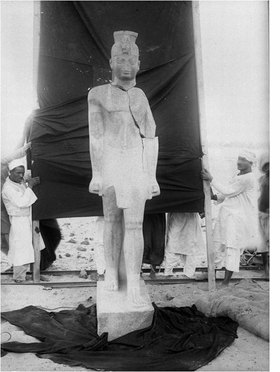 Mohammedani Ibrahim Ibrahim's April 27, 1916, photograph of Gebel Barkal: Statue of Aspelta, is reproduced from 'Unearthing Ancient Nubia.'