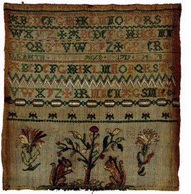 "Featured image, a 1718 sampler by Elizabeth Russell (American, born in Boston, about 1710), is reproduced from <I>Women's Work: Embroidery in Colonial Boston</I>. ""This is the earliest known Boston sampler from the eighteenth century. The squirrels at the bottom were a common motif in domestic embroideries such as bed hangings and chair seats."""