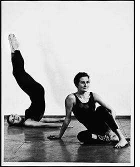 """Featured photograph, of Yvonne Rainer and Trisha Brown, is """"Satie for Two"""" (1962). It is reproduced from <I>Space, Body, Language</I>."""