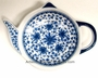 Chinese Porcelain  Teapot Tea Bag Holder - Blue & White Flowers