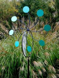 "24"" GARDEN WHEEL TURQUOISE With In-Ground Stand<span style=""color:MAGENTA"">"