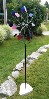 """DOUBLE PETALS""<P>24"" GARDEN WHEELS<P> With RETRO CEMENT BASE"