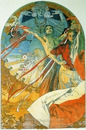 8th Sokol Festival painting reproduction, Alfonse Mucha