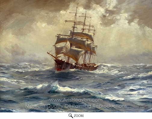 Thomas Jacques Somerscales, A Barque Running Before a Gale oil painting reproduction