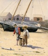 A Basket of Clams painting reproduction, Winslow Homer