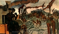 A Battery Shelled painting reproduction, Wyndham Lewis