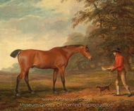 A Bay Horse Approached by a Stable-Lad with Food and a Halter painting reproduction, George Garrard