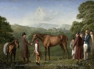 A Bay Racehorse Held by a Trainer in an Extensive Landscape painting reproduction, Jacques Laurent Agasse