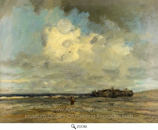 Jacob Maris, A Beach oil painting reproduction