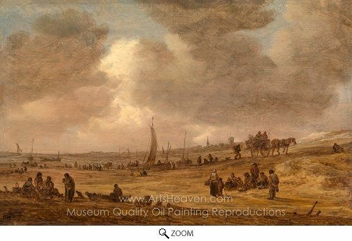 Jan Van Goyen, A Beach with Fishing Boats oil painting reproduction