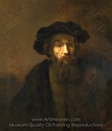 A Bearded Man in a Cap painting reproduction, Rembrandt Van Rijn
