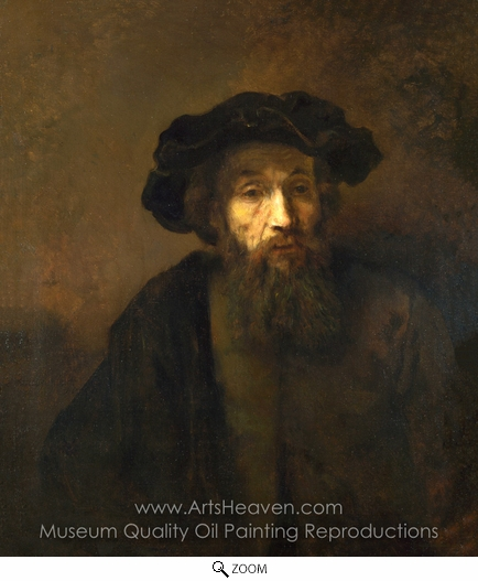 Rembrandt Van Rijn, A Bearded Man in a Cap oil painting reproduction