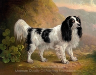 A Black and White English Springer Spaniel in a Landscape painting reproduction, Sawrey Gilpin