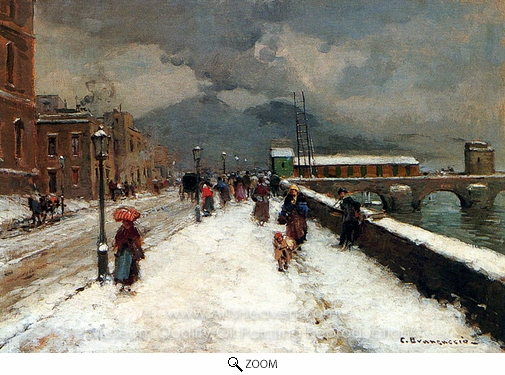 Carlo Brancaccio, A Blustery Winter Day oil painting reproduction