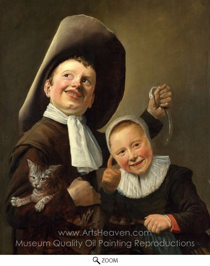 Judith Leyster, A Boy and a Girl with a Cat and an Eel oil painting reproduction