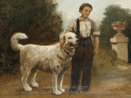A Boy and His Dog painting reproduction, Jules Breton