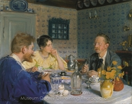 A Breakfast, the Artist, His Wife and the Writer Otto Benzon painting reproduction, Peder Severin Kroyer