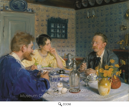 Peder Severin Kroyer, A Breakfast, the Artist, His Wife and the Writer Otto Benzon oil painting reproduction