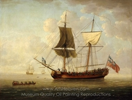 A Brigantine in a Calm Sea painting reproduction, John Cleveley