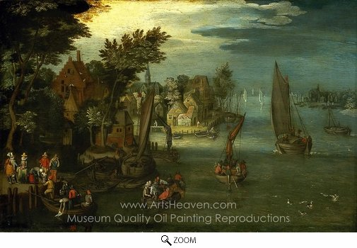 Jan Brueghel, A Busy River Scene with Dutch Vessels and a Ferry oil painting reproduction