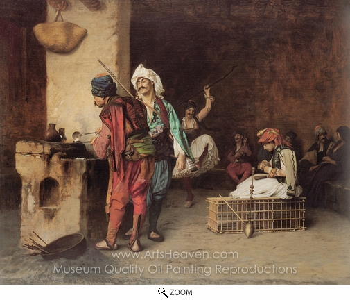Jean-Leon Gerome, A Cafe in Cairo oil painting reproduction
