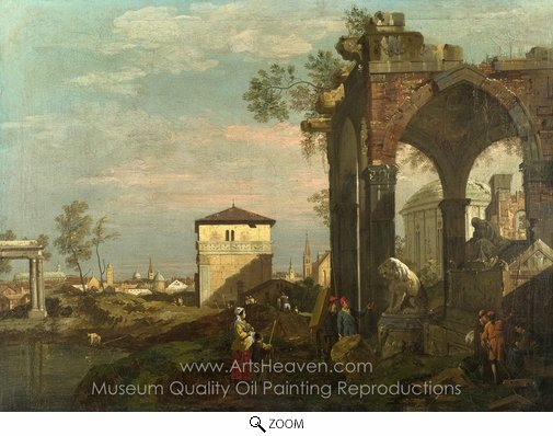 Bernado Bellotto, A Caprice Landscape with Ruins oil painting reproduction
