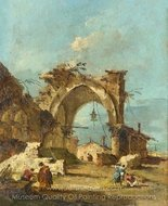 A Caprice with a Ruined Arch painting reproduction, Francesco Guardi