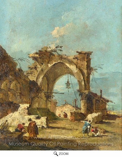 Francesco Guardi, A Caprice with a Ruined Arch oil painting reproduction