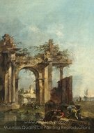 A Caprice with Ruins on the Seashore painting reproduction, Francesco Guardi