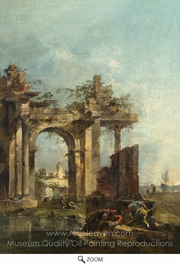 Francesco Guardi, A Caprice with Ruins on the Seashore oil painting reproduction