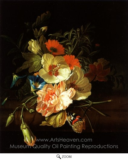 Rachel Ruysch, A Carnation Morning Glory with Other Flowers oil painting reproduction