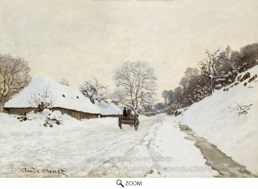 Claude Monet, A Cart on the Snowy Road at Honfleur oil painting reproduction