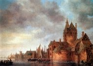 A Castle by a River with Shipping at a Quay painting reproduction, Jan Van Goyen