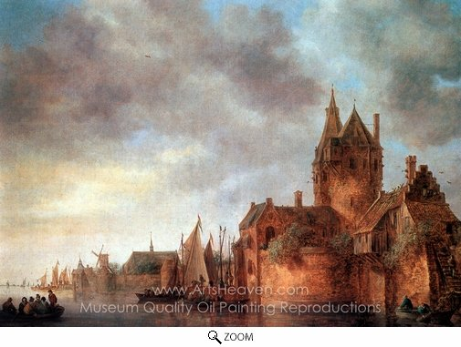 Jan Van Goyen, A Castle by a River with Shipping at a Quay oil painting reproduction