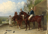 A Change of Horses Waiting for the Arrival of a Coach Outside an Inn painting reproduction, John Frederick Herring Sr.