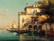 A Conversation on a Venetian Backwater painting reproduction, Antoine Bouvard