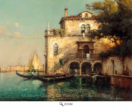 Antoine Bouvard, A Conversation on a Venetian Backwater oil painting reproduction