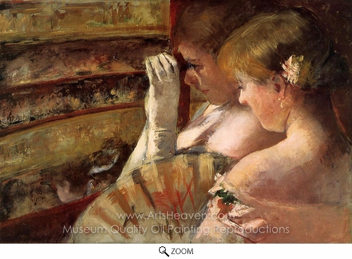 Mary Cassatt, A Corner of the Loge (In the Box) oil painting reproduction